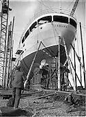"1952 Irish Lights, new ship ""Isolde"" at the Liffey Dockyard"
