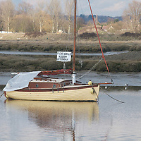 Boat on a winter mooring near Maldon