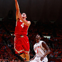CHAMPAIGN, IL - JANUARY 05: Aaron Craft #4 of the Ohio State Buckeyes shoots the ball as Brandon Paul #3 of the Illinois Fighting Illini watches at Assembly Hall on January 5, 2013 in Champaign, Illinois. Ilinois defeated Ohio State 74-55. (Photo by Michael Hickey/Getty Images) *** Local Caption *** Aaron Craft; Brandon Paul