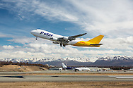 DHL cargo jet taking off from Ted Stevens Anchorage International Airport in Southcentral Alaska with the Chugach Mountains in the background. Spring. Afternoon.