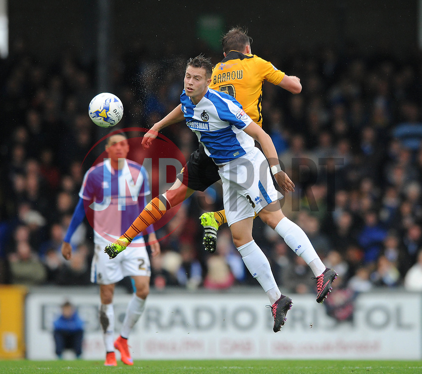 Billy Bodin of Bristol Rovers challenges for the header with Scott Barrow of Newport County - Mandatory byline: Dougie Allward/JMP - 07966 386802 - 24/10/2015 - FOOTBALL - Memorial Stadium - Bristol, England - Bristol Rovers v Newport County AFC - Sky Bet League Two