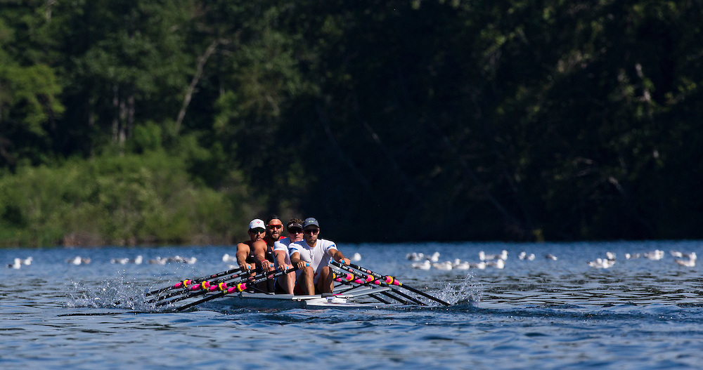 Rowers train at Elk Lake in Victoria B.C. Canada.