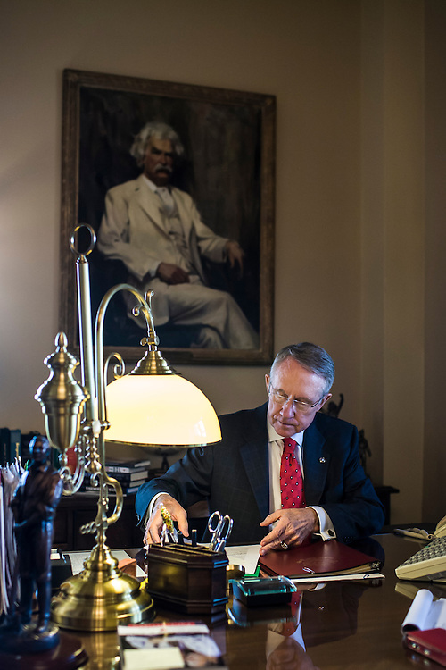 Senate Majority Leader Harry Reid (D-NV) participates in a conference call in his office on Capitol Hill on Friday, September 19, 2008 in Washington, DC. Brendan Hoffman for the New York Times
