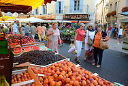 The saturday market in the city of Apt,Vaucluse,Provence,France,Europe