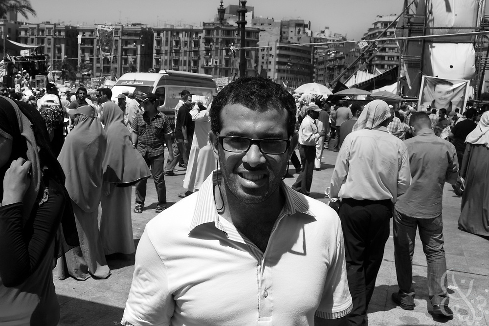Egyptian activist Jawad Nabulsi poses for a portrait in Tahrir Square July 30, 2011. Nabulsi's charity, the Nebny foundation is actively trying to work in low income neighborhoods to help empower young Egyptians economically to succeed post revolution. (Photo by Scott Nelson for Stern)