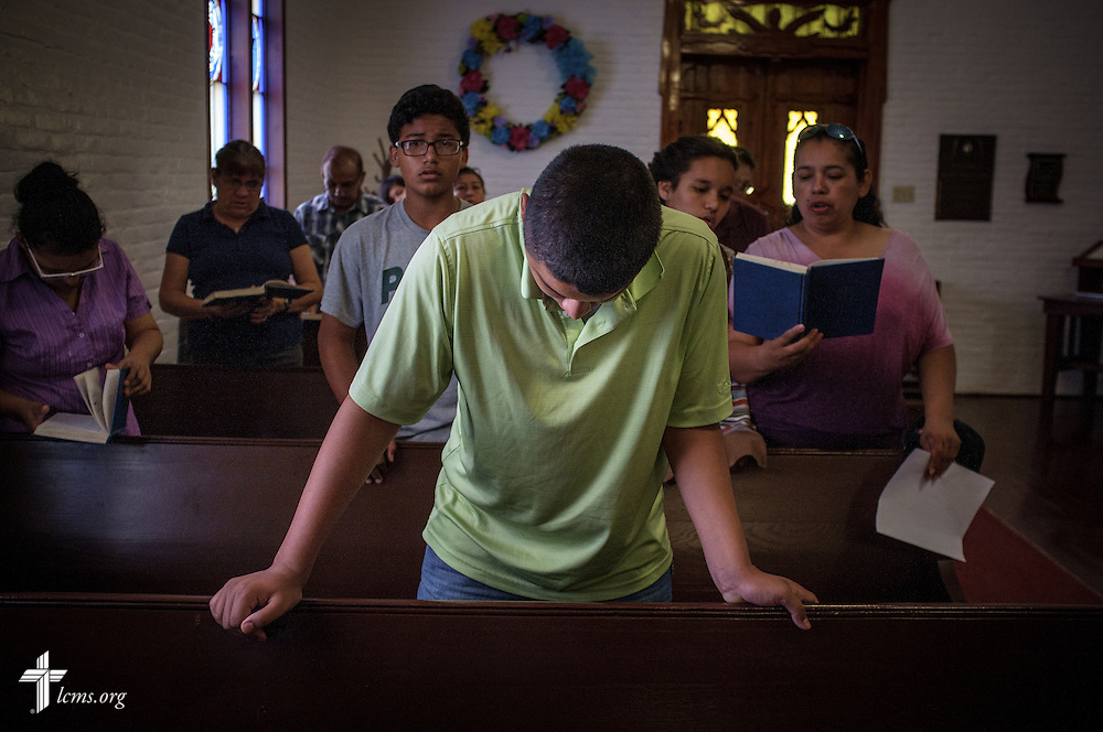 Daniel Garcia bows his head during worship at El Calvario Lutheran Church on Sunday, April 17, 2016, in Brownsville, Texas. LCMS Communications/Erik M. Lunsford