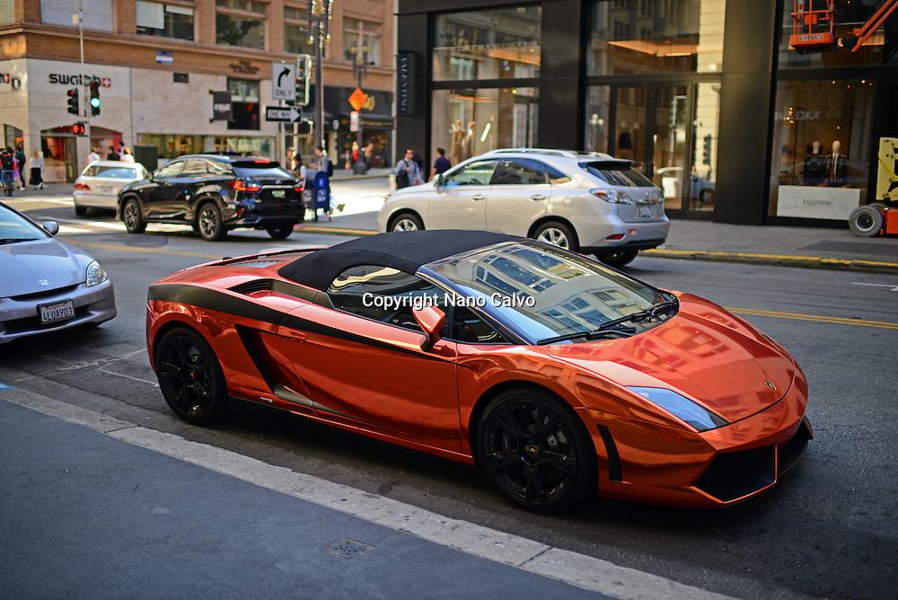 Bright colored Lamborghini parked in Union Square area, Financial District, San Francisco.