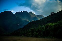 Mountainous landscape in Mai Chau area, Hoa Binh Province, Vietnam, Southeast Asia