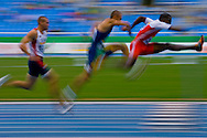 Rio de Janeiro, Brazil, July 24 of 2007:   Leonel Suarez, from Cuba (wearing red) won the 110m hurdles (decathlon), the Brazilian Carlos Chinin (wearing green) was second, and Chris Boyles from USA was third. (Photo: Caio Guatelli)