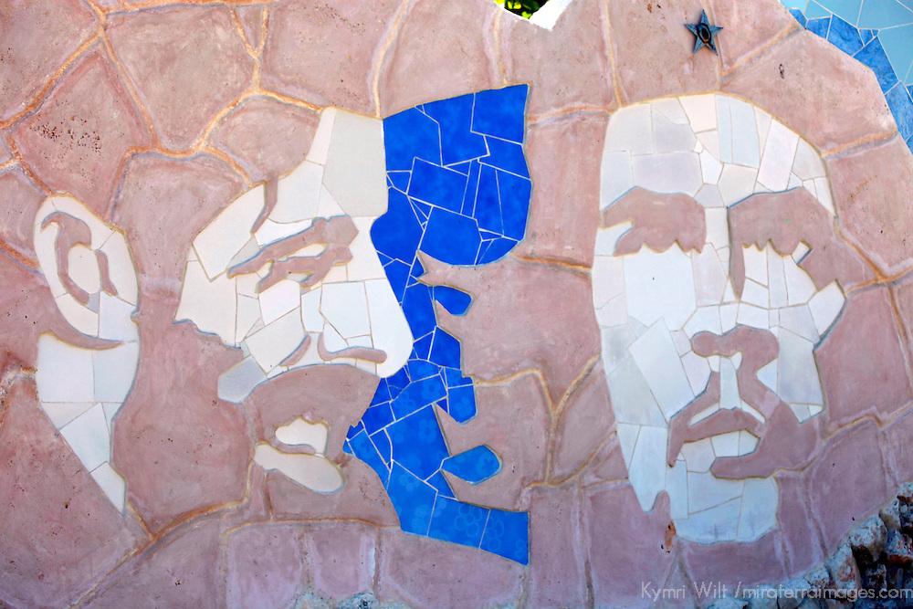 Central America, Cuba, Havana. Muraleando mosaic of Che Guevara and Fidel Castro.