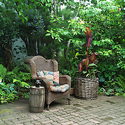 Wicker chair on patio, canna lilies.