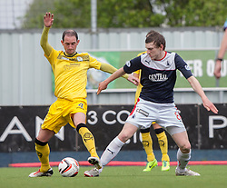 Queen of the South's Mark Kerr and Falkirk's Blair Alston.<br /> Half time : Falkirk 0 v 1 Queen of the South, Scottish Premiership play-off quarter-final second leg played today at the Falkirk Stadium.<br /> &copy; Michael Schofield.
