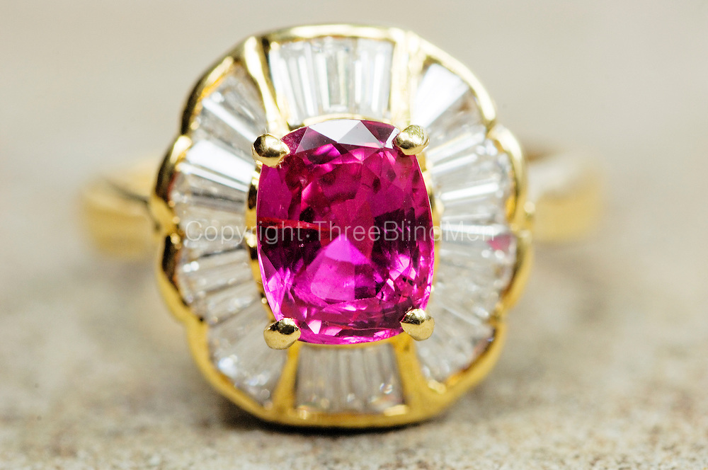 Ruby and Diamonds set in gold.