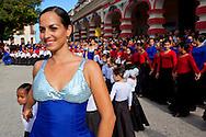 Flamenco dancer parade at Fiesta de la Cultura de Iberoamerica in Holguin, Cuba.