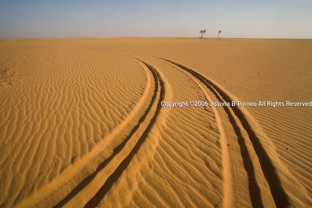 Tracks across the Sahara sand in northern Sudan.