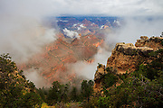 Clouds clearing from the Grand Canyon near El Tovar Lodge.