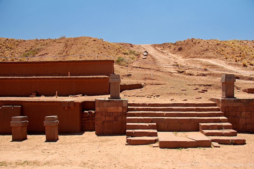 South America, Bolivia, Tiwanaku. Akapana Pyramid at Pre-Columbian archaeological site of Tiwanaku, a UNESCO World Heritage Site.