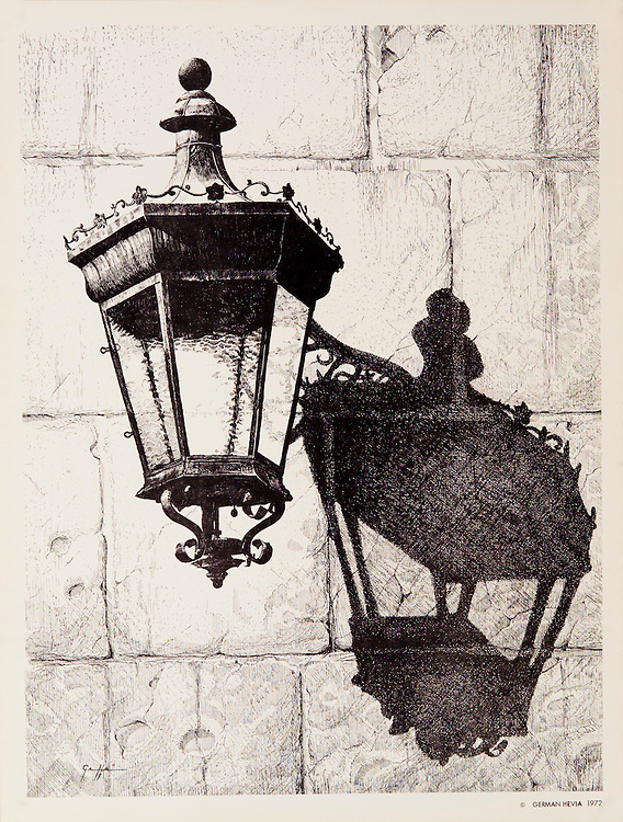 Cat. #8 - Lithographic print of Pen and Ink drawing of a typical lantern found in the ancient cities throughout the Caribbean. This drawing is based on one in Old San Juan, Puerto Rico. Printed on heavy, smooth paper.<br />