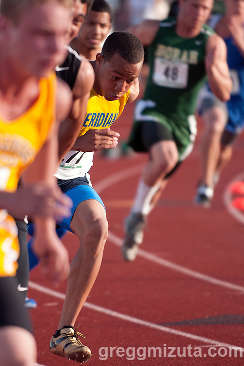 Meridian senior Nic Bowens at the start of the 200 meter dash during the 5A District 3 meet on May 12, 2011 at Mountain View High School. Bowens won the heat in 21.57.
