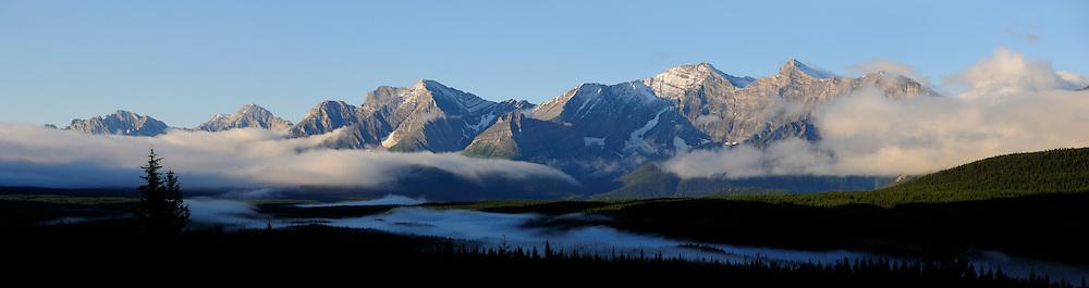 Panorama, Morning Fog, Rocky Mountains, Peter Lougheed Provinical Park, Alberta, Canada.