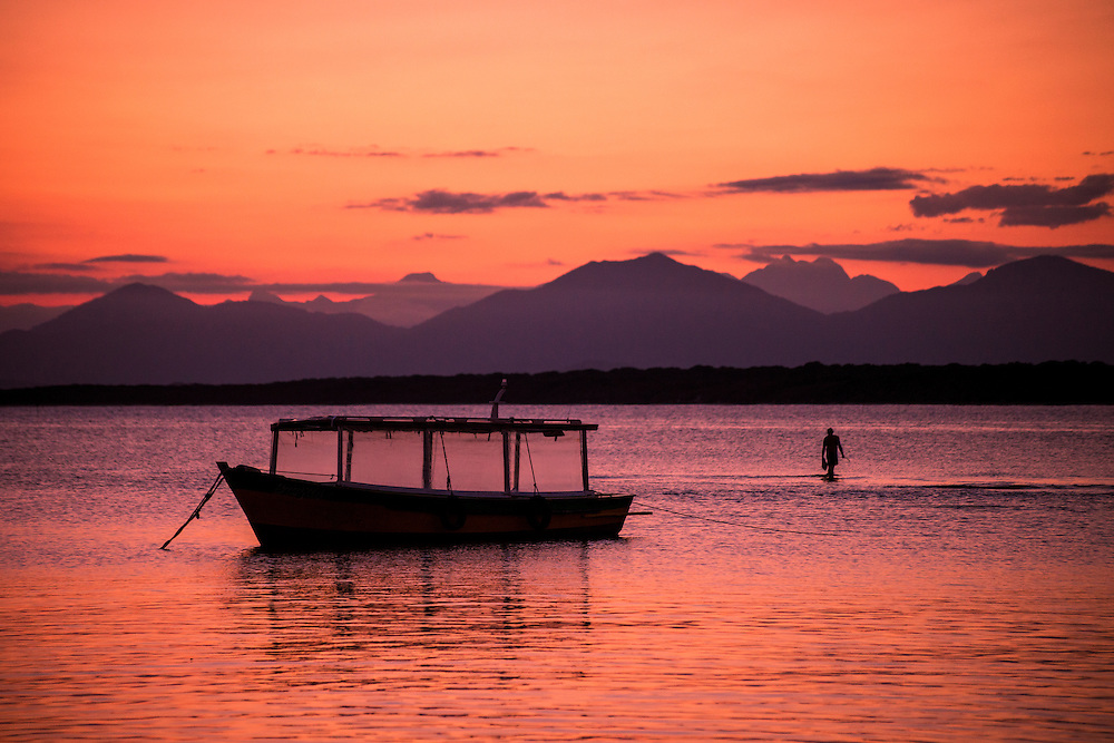 Boat at sunset on Ilha do Mel, Brazil