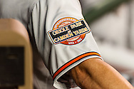 The sleeve of Baltimore Orioles Jim Thome shows a patch celebrating the 20th anniversary of Camden Yards during a game against the Minnesota Twins at Target Field in Minneapolis, Minnesota on July 16, 2012.  The Twins defeated the Orioles 19 to 7 setting a Target Field record for runs scored by the Twins.  © 2012 Ben Krause