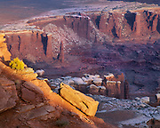 0303-1067 ~ Copyright:  George H. H. Huey ~ The White Rim, seen from Grandview Point at sunset.  Island In The Sky.  Canyonlands National Park, Utah.