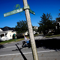 CELEBRATION, FL -- December 2, 2010 -- A motorcyclist makes his way in the small, Disney master-planned community in Celebration, Fla., on December 2, 2010.  The town's first murder in its 14 year existence has drawn buzz worldwide and amongst its citizens alike.