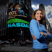 Karen Finerman in Times Square before she prepares for live taping of Fast Money at CNBC's NASDAQ studios Times Square, New York City. Personally she's worth $100m, runs a $400m hedge fund, and two sets of twins and four nannies.