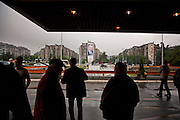 Serbian Progressive Party (SNS) congress at Sava Center in Belgrade, Serbia. May 15, 2012. A billboard advertising Tomislav Nikolic and SNS...Matt Lutton for The Wall Street Journal.BELGRADE