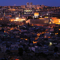 Night view from the South of the Old City of Jerusalem, with the Jewish Quarter, Western Wall, Temple Mount and Dome of the Rock in the center.