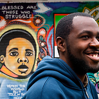 "Artist Will ""Kasso"" Condry in front of one of his murals near where he was born and brought up. Taken in 2007 with a DSLR Nikon D80."