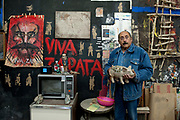 Painter and sculptor Alvaro Blancarte in his studio at the University of Baja California in Tecate, Baja California, Mexico.<br /> <br /> This picture is part of my long-term project<br /> LA FRONTERA: Artists along the US Mexican Border.<br /> &copy; Stefan Falke / www.stefanfalke.com