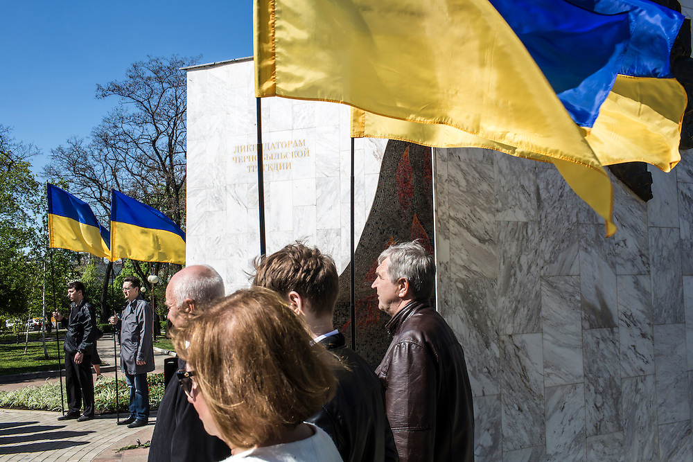 DONETSK, UKRAINE - APRIL 25:  People attend a memorial service commemorating the anniversary of the 1986 Chernobyl nuclear accident on April 25, 2014 in Donetsk, Ukraine. The accident, which took place in the northern part of Ukraine, is considered the worst nuclear accident in history. (Photo by Brendan Hoffman/Getty Images) *** Local Caption ***