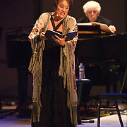 "Lucy Shelton and Reinbert de Leeuw perform Reinbert de Leeuw's Im wunderschönen Monat Mai (""In the Merry Month of May""), a cycle of 21 songs on Schumann and Schubert at the 66th Ojai Music Festival on June 8, 2012 in Ojai, California."