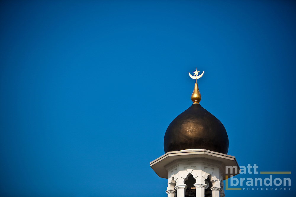 One of the minarets at the Kapitan Keling mosque mosque in Penang.