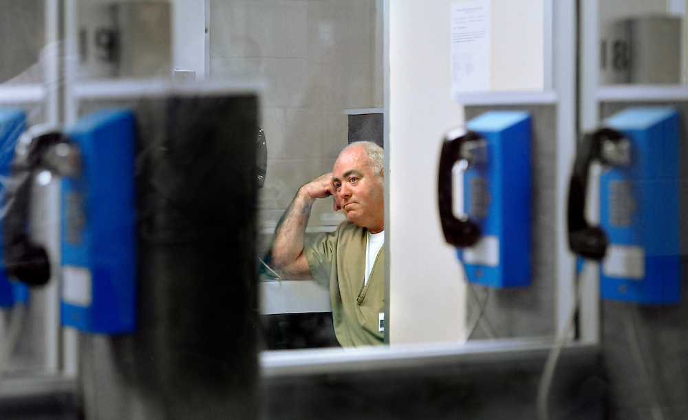 Michael Skakel waits in a visitation room for a decision during a parole hearing at McDougall-Walker Correctional Institution in Suffield, Conn., Wednesday, Oct. 24, 2012.  Parole officials denied Skakel's first bid for parole since he was convicted a decade ago of killing his neighbor in 1975.  Skakel is serving 20 years to life for fatally beating Martha Moxley with a golf club in Greenwich when they were 15-year-old neighbors.