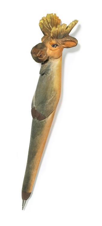 carved wooden moose pen