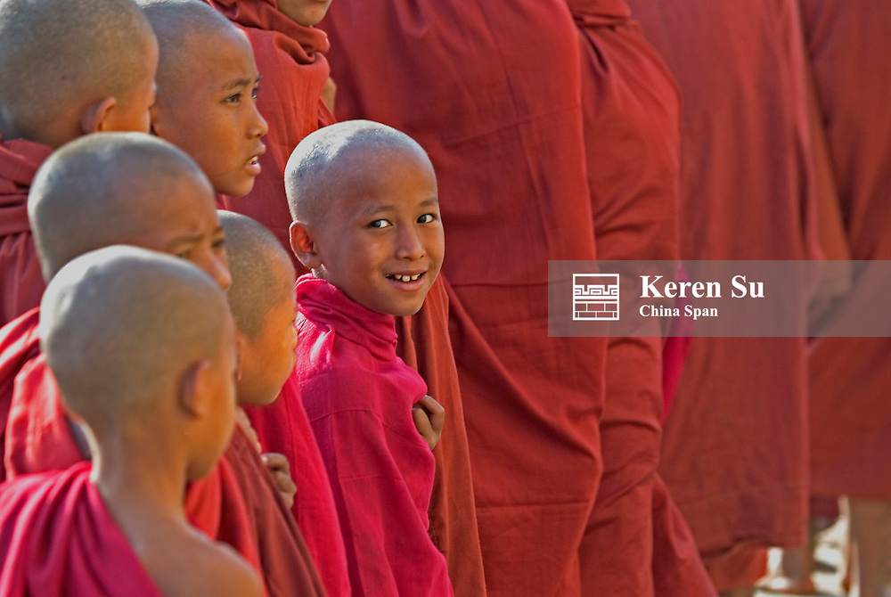 Monks gather together at Ananda Pagoda Festival, Bagan, Myanmar