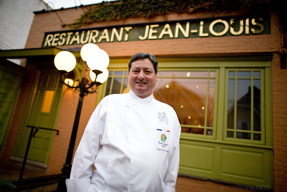 French chef Jean-Louis Gerin poses for a portrait outside the Restaurant Jean-Louis on Lewis Street in Greenwich, CT Saturday Nov. 8, 2008. Mandatory credit: Robert Falcetti