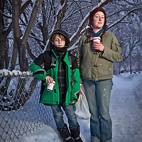 Neighbors, Chelsea Harness, and ten year old, Max, on their way home from Inlet View Elementary school with a stop at City Market, South Addition, Anchorage