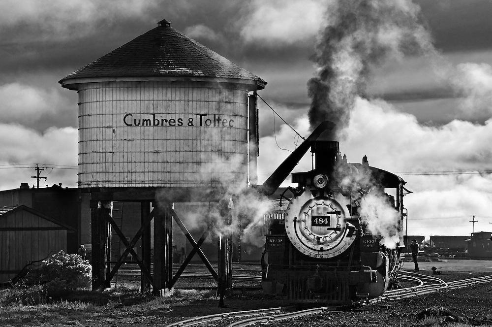 Engine 484, Cumbres & Toltec Scenic Railroad in Antonito, Colorado.