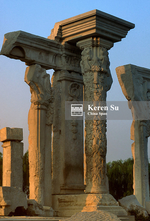 Sunset view of ruins of European-style palace in Yuan Ming Yuan (Old Summer Palace), Beijing, China