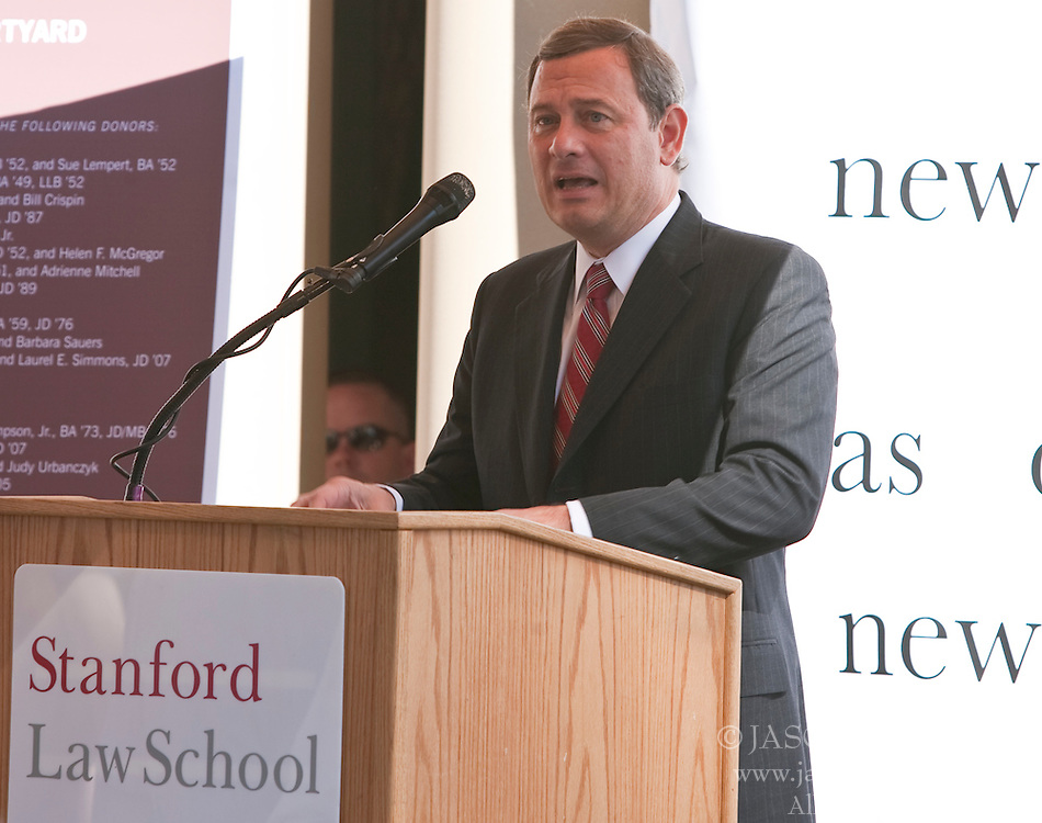 October 23, 2009; Stanford, CA USA; United States Supreme Court Chief Justice John Roberts visited Stanford Law School to take questions from first year law students and speak at the dedication of the Chief Justice William Rehnquist Courtyard.