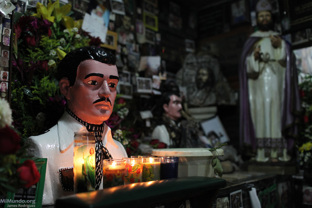 "The main bust of Jesus Malverde found inside the Malverde chapel in Culiacán, México. The cult of Malverde, also known as the generous bandit or ""narco-saint"", is of great importance in the northern Mexican states as he is affiliated with migrant and drug trafficking culture. Even though he is not officially recognized by the Catholic Church, Malverde is venerated as a folk saint since numerous miracles have been attributed to him by faithful in Sinaloa and beyond. Culiacán, Sinaloa, Mexico. December 1, 2012."