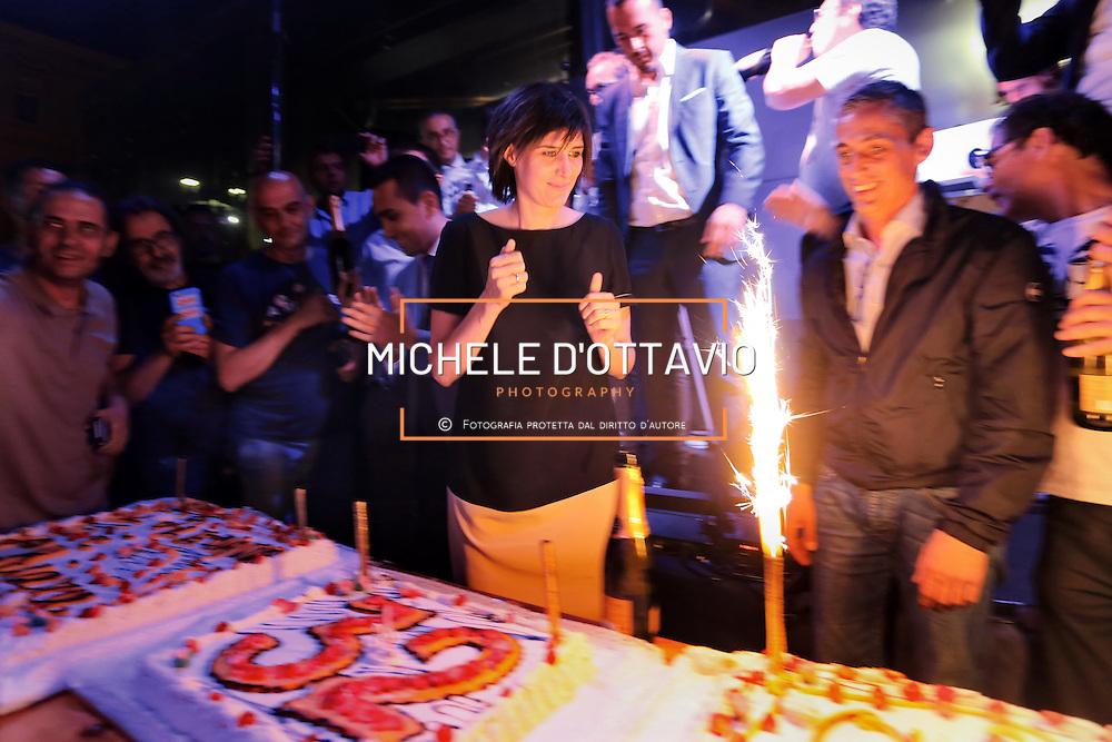 Torino 12 giugno 2016: <br /> Festa di compleanno nel centro di Torino per Chiara Appendino, candidata sindaco del Movimento 5 Stelle