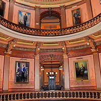 Michigan State Capitol Rotunda Gallery of Governors in Lansing, Michigan <br />