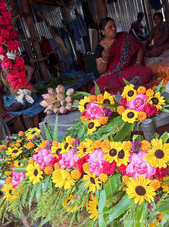Asia, India, Calcutta. Scene from the Calcutta Flower Market.