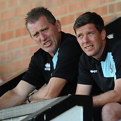 Bristol Rovers Manager, Darrell Clarke with goal keeper coach, Stuart Naylor - Photo mandatory by-line: Joe Meredith/JMP - Mobile: 07966 386802 - 11/07/2015 - SPORT - Football - Salisbury - Raymond McEnhill Stadium - Pre-Season Friendly