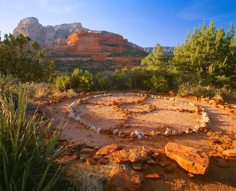 0142-1055 ~ Copyright: George H. H. Huey ~ New Age medicine wheel at sunrise with Red-Rock Secret Mountain Wilderness in background. Near Sedona. Coconino National Forest, Arizona.